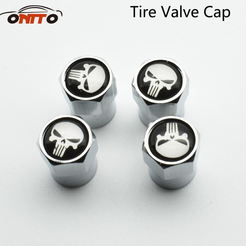 Good quality 4Pcs Universal Black Red Skull Head Pattern Wheel Tire Valve Caps Car Tyre Caps Wheel Valve Caps