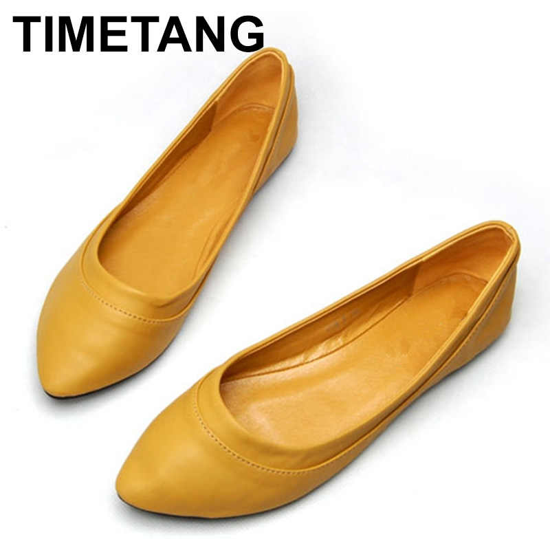 TIMETANG Large Size 41 Women's Shoes Spring Autumn Ballet Flats Ladies Ballerinas Women Leather Shoes Flats Zapatos Mujer E638