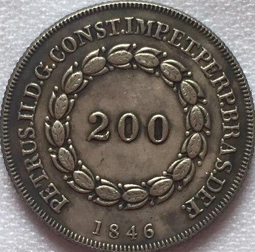 1846 Бразилия 200 Reis Монеты Скопируйте Бесплатная доставка