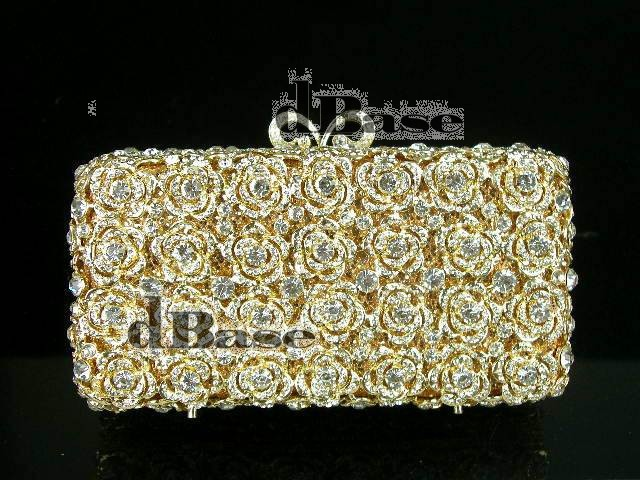 ФОТО #8223 Crystal small ROSE Flower Floral Bridal Party GOLD hollow Metal Evening purse clutch bag handbag case