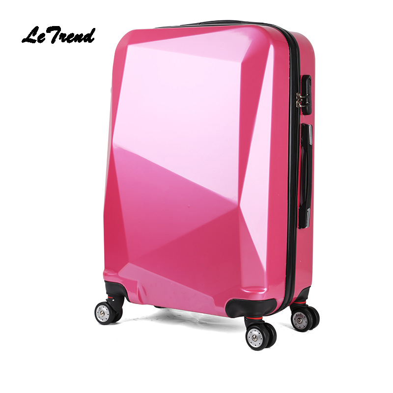 LeTrend Rolling Luggage Spinner Suitcase Wheels Trolley Women Travel bag 20 inch Student Carry On Password Hardside Trunk Men vintage suitcase 20 26 pu leather travel suitcase scratch resistant rolling luggage bags suitcase with tsa lock