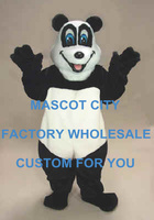 Happy Panda Bear Mascot Costume Adult Size Cartoon Character Carnival Party Cosply Mascotte Mascota Fit Suit