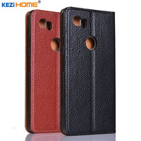 For Google Pixel 2 XL Case KEZiHOME Litchi Genuine Leather Flip Stand Leather Cover Capa For