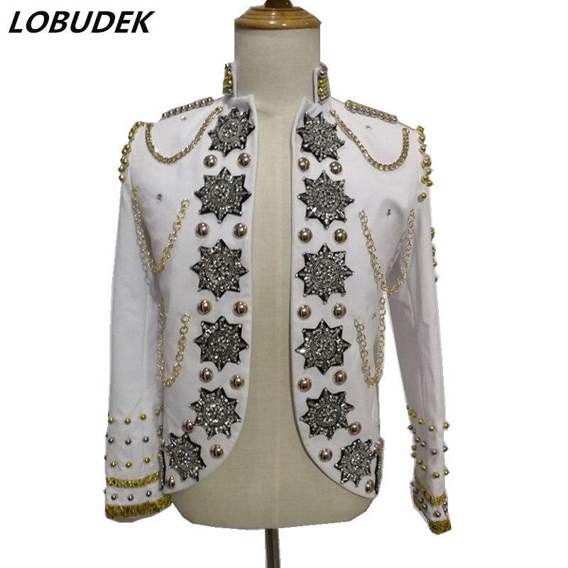 Haute Qualité Hommes Veste Scintillant Strass Or Perles Vestes Slim Manteau Discothèque DJ Rock Vêtements Étoiles Costumes de Scène de la Chanteuse