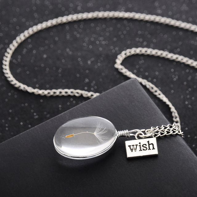 Dandelion Crystal Pendant Necklace for Women