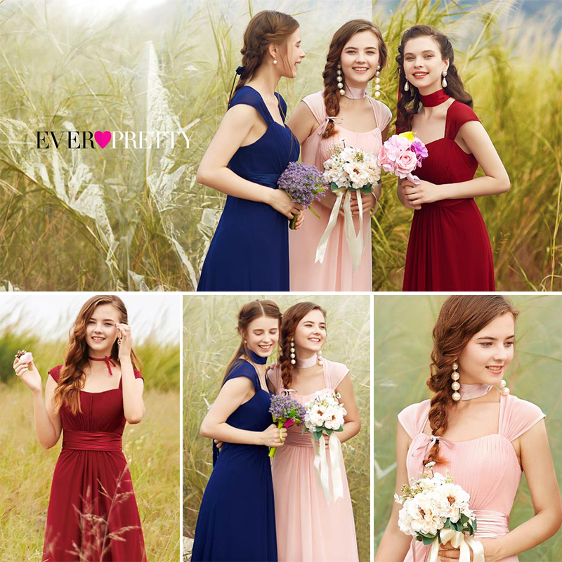 Long Simple   Bridesmaid     Dresses   2020 New Arrival Ever Pretty EP08834 Long Chiffon Cheap Wedding Party   Dresses     Bridesmaid     Dresses
