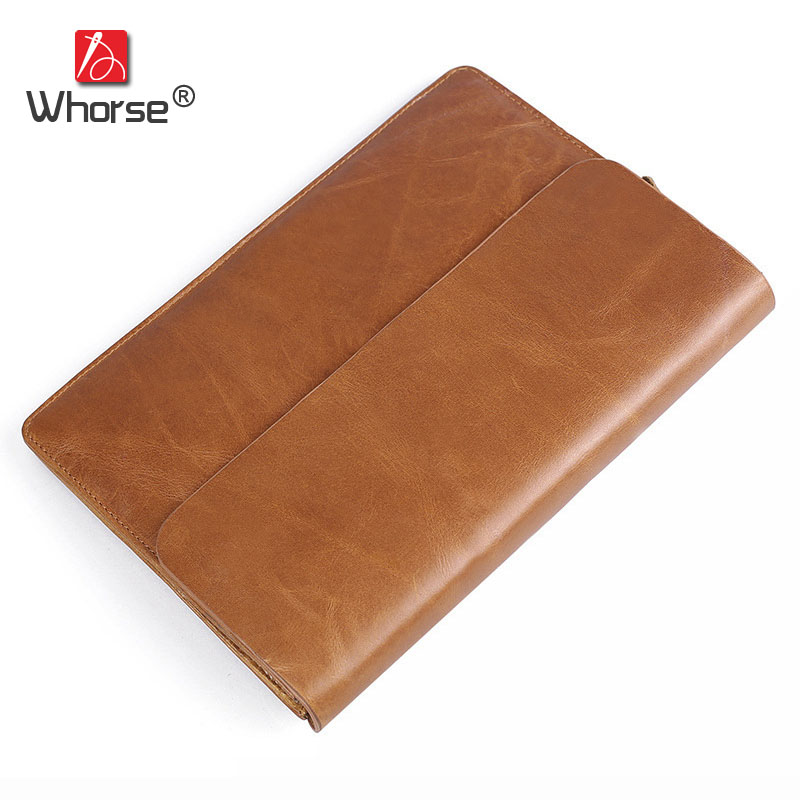 Casual Vintage Simple Style Clutch Bag Genuine Leather Mens Long Big Wallet Purse Envelope Bags For Men Coffee Brown W9342 vintage simple style genuine leather messenger bag men s hand made shoulder bag casual