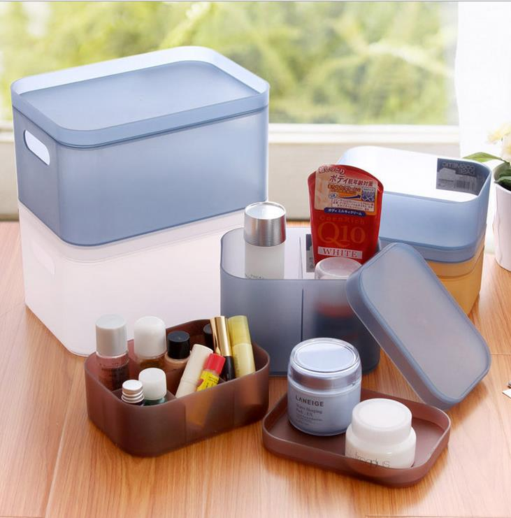 cosmetics storage boxes electronic frosted color furniture cosmetics storage bins stackable content box with a free