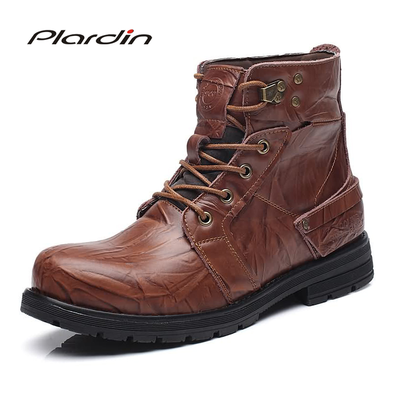Plardin New Pointed Toe genuine leather Knight boots Cross-tied Metal Decoration Fashion Man Army boots Men winter boots casual riding winter boots feathers 2015 new fashion korean metal decoration genuine leather elevator pull on pure color round toe