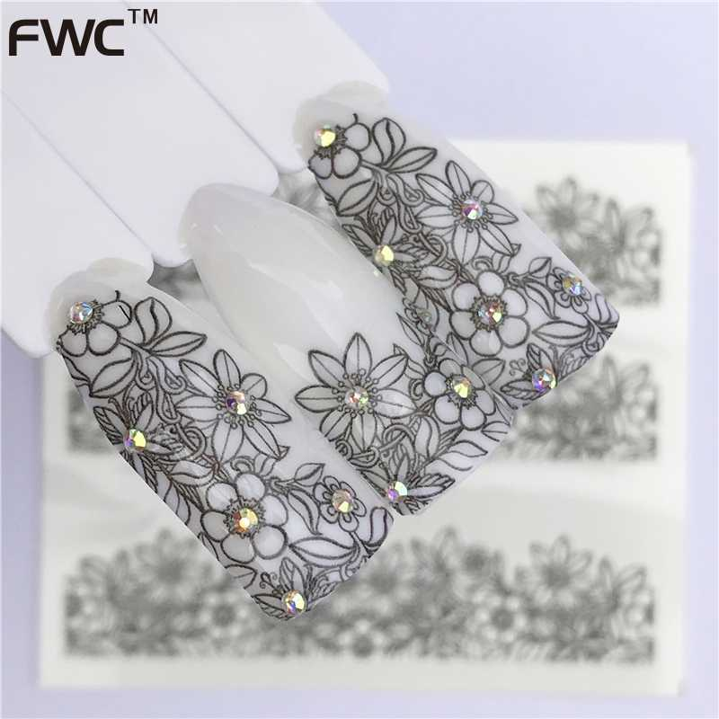 WUF 25 Designs New Black Flower Lace Designs Nail Art Water Decals Transfer Nail Stickers Decoration Elegance Manicure Tool