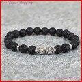 1 шт. новый продукт браслет из бисера 8 ММ black lava ntural камень энергии каменные бусы два черепа упругий канат браслет