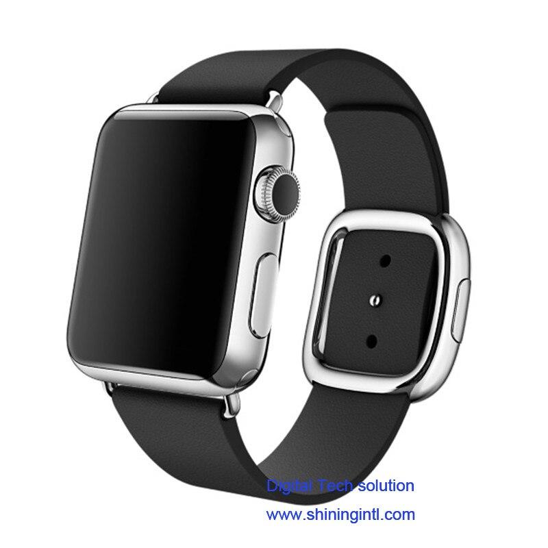 bilder für Smochm IWO 3 Drahtlose Lade Bluetooth Smart Uhr Aluminium Fall MTK2502C Leder Band für IPhone Samsung Xiaomi Android Handys