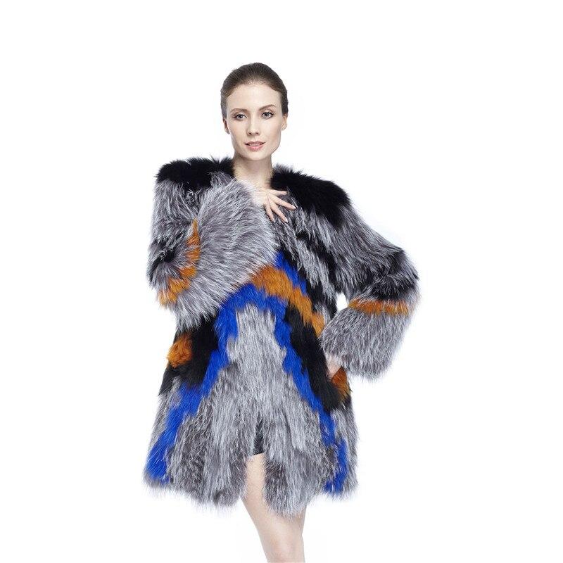ZY89014 Signore Autunno e L'inverno Moda Lusso Donne Reale Volpe pelliccia Con Silver Fox Fur O-Collo Coperto Button Cappotto Lungo Jackt