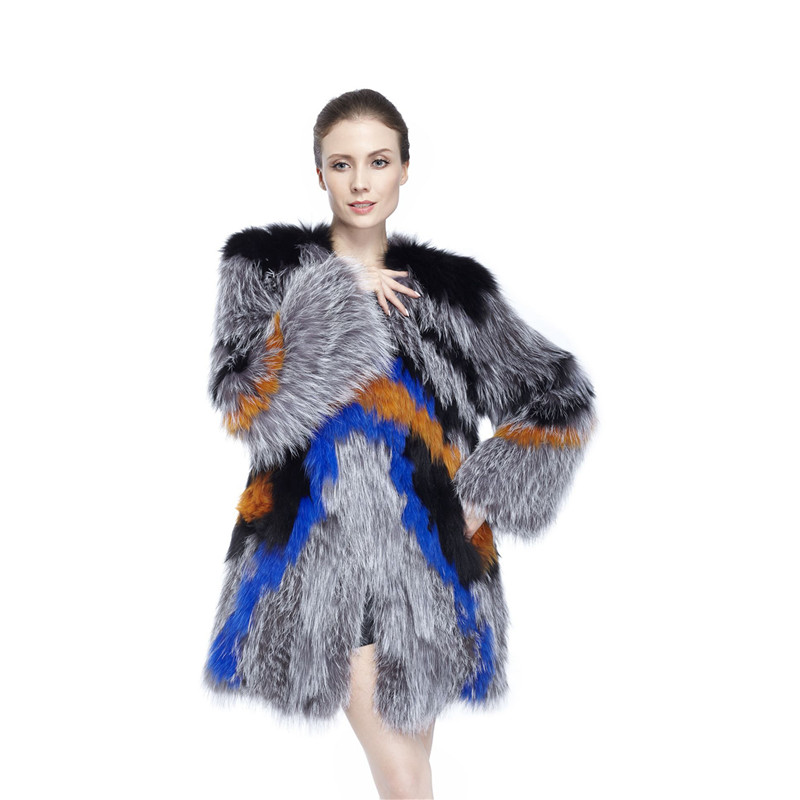Zy89014 Ladies otoño y el invierno de la moda de lujo mujeres real Fox Pieles de animales con Silver Fox Pieles de animales o-cuello cubierto botón abrigo largo jackt