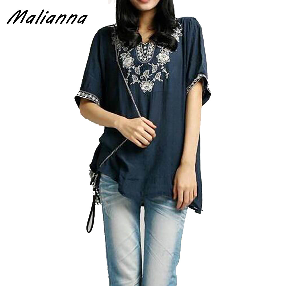 2017 Vintage Embroidered Floral Ethnic Top Tunic Boho Peasant Blouse Loose Shirt Free Size