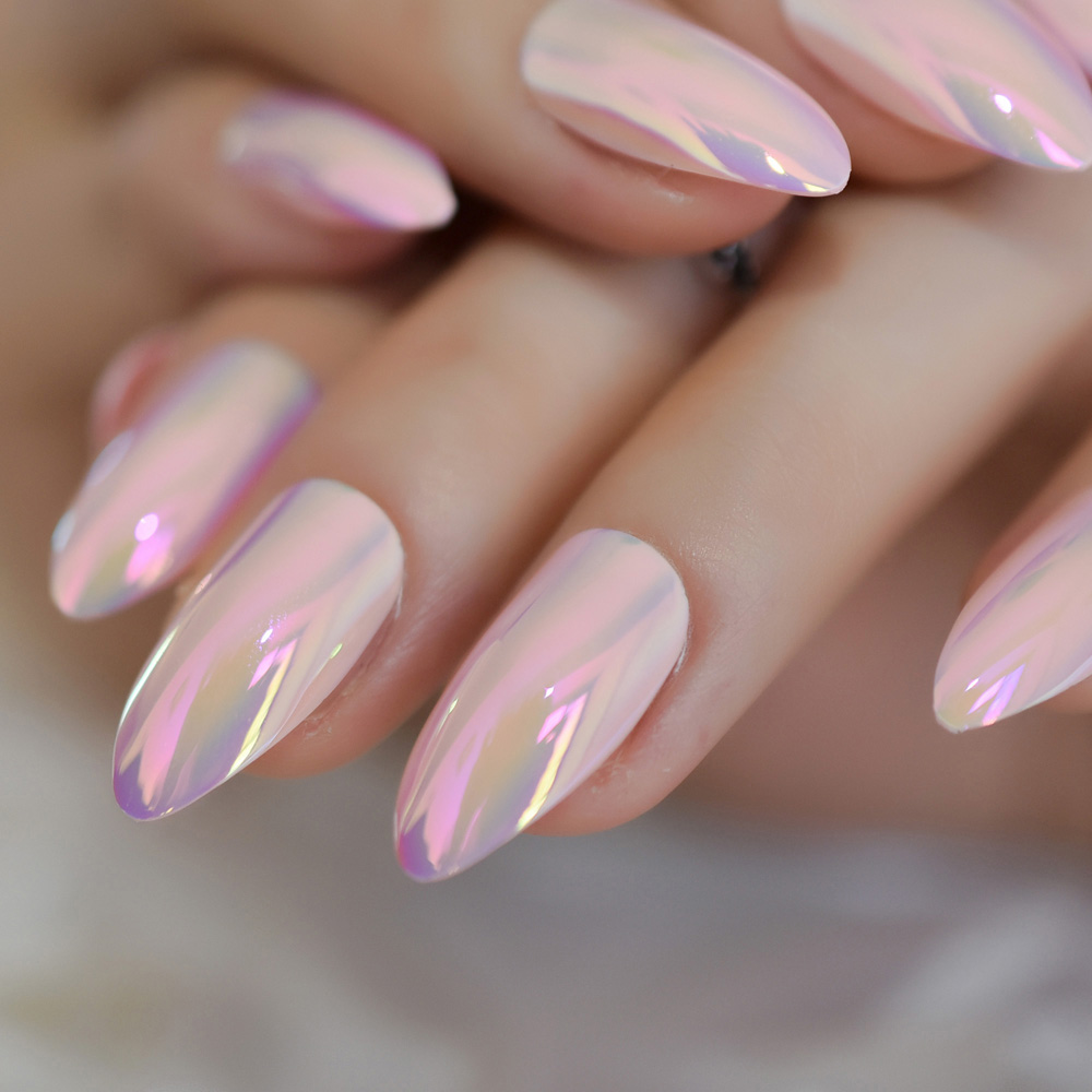light pink almond holographic nail