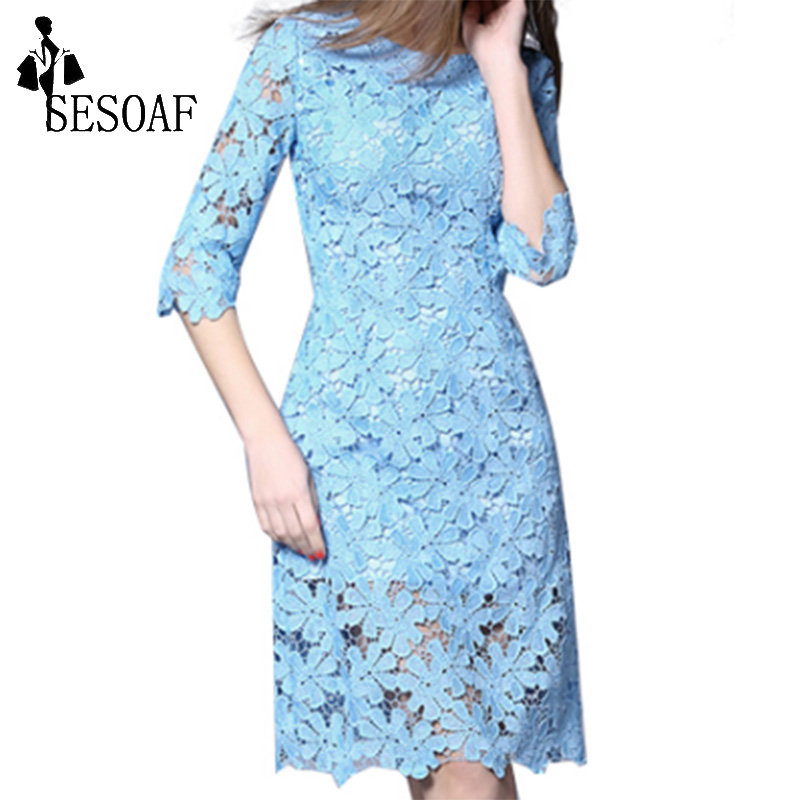 Aliexpress.com : Buy Women Lace Dress Half Sleeve Knee Length Lace Dresses Party Winter lace ...