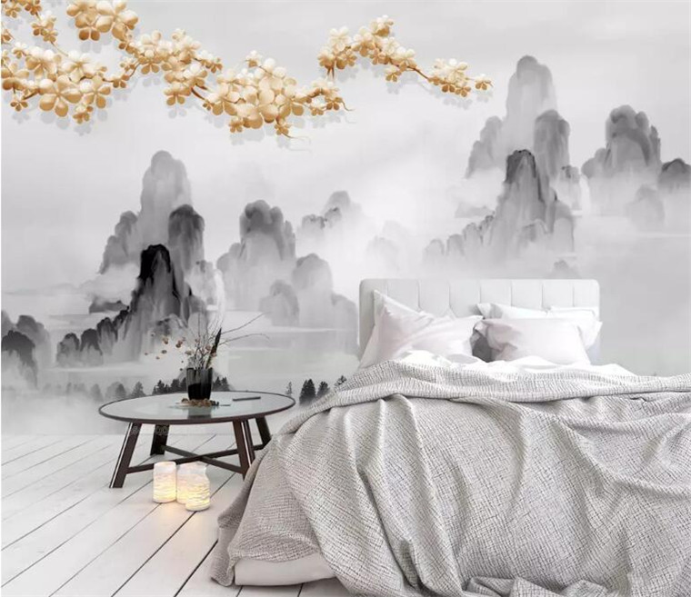 Custom wallpaper 3d mural High grade atmosphere new Chinese classical ink landscape golden sofa background wall paper in Wallpapers from Home Improvement