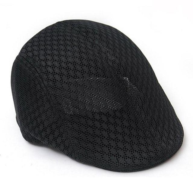 3bd4f8e3ec944 Men Women Simple Plain Color Breathable Mesh Summer Flat Beret Cap Casual  Cabbie Newsboy Hat