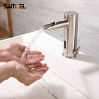 Brass Touch Free Automatic Sense Bathroom Basin Mixers Brushed Nickel Auto Sensor Cold Hot Waterfall Faucet S840