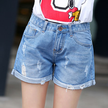 2016 летом новый Корейский тонкий hole Широкую Ногу Джинсовые Шорты леди свободные губы AA отдых шорты