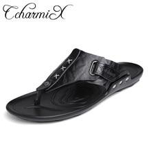 2bd58522eeb6 CcharmiX 2019 Summer Men Flip Flop Beach Mens Slippers Casual Office Top  Quality Leather Male Footwear