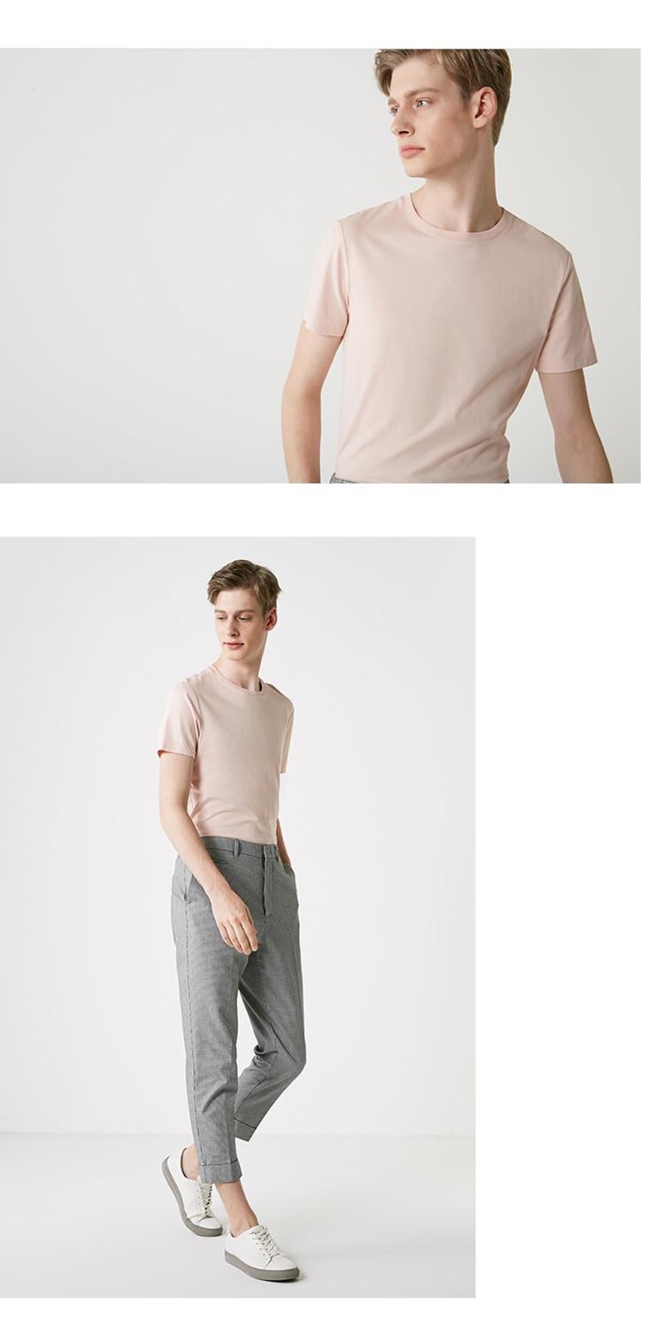 Men's Summer 100% Cotton Pure Color Round Neckline Short-sleeved T-shirt 58