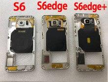 Para Samsung Galaxy S6 G920F G920 S6 edge G925F G925 carcasa de teléfono móvil marco medio S6 Edge nuevo chasis de cuerpo con lente de cámara