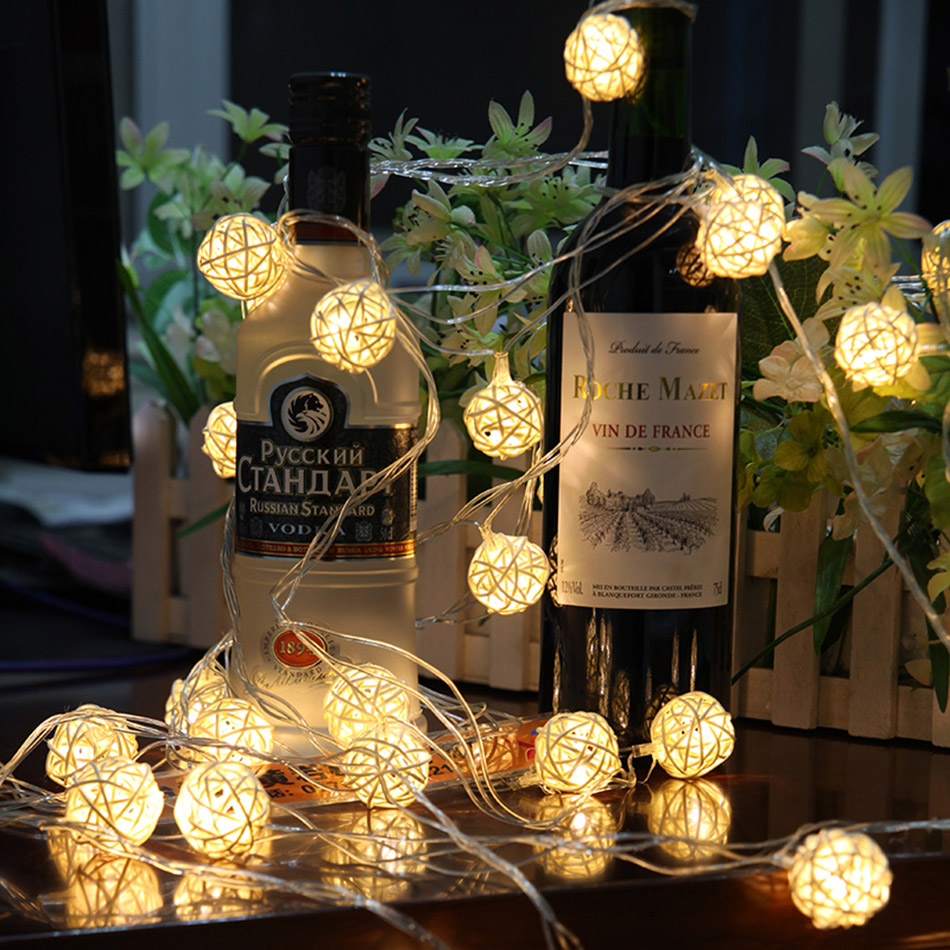 5 Meter 40 pcs handmade ranttan ball led string light by 3pcs AA battery,Fairy party light/ wedding/Christmas decoration
