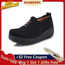 Krasovki Fitness Shoes Big Size New Women Dropshipping Autumn Muffin Leather Rocking Leisure Single
