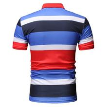 Business Social Shirt for Mens Clothing Stripes Men Polo Short sleeve Collar Summer Tops Fashion Red Blue