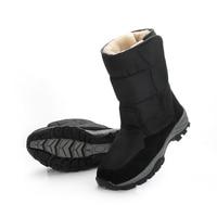2018 Men Boots Black Winter Shoes Male Snowboots Big Size 48 Warm Fur Rubber Strong Outsole