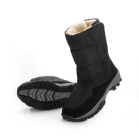 2018 Men Boots Black Winter Shoes Male Snowboots Big Size 48 Warm Fur Rubber Strong Outsole