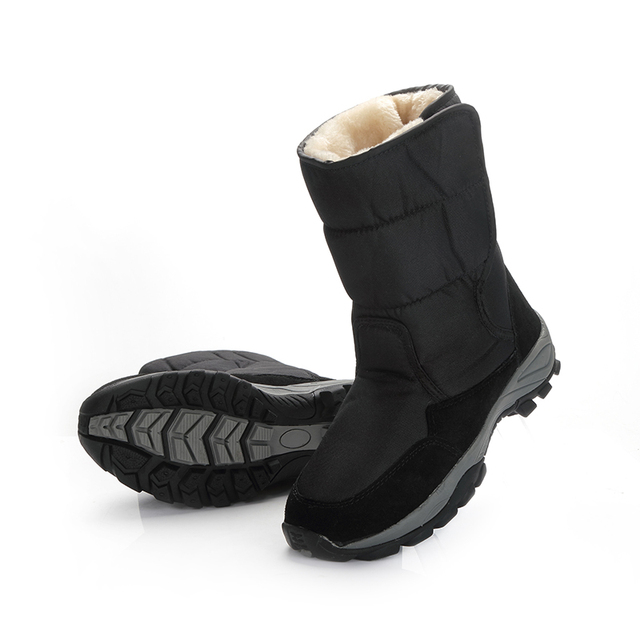 2018 men boots black winter shoes 남성 snowboots 큰 size 48 warm 퍼 고무 strong outsole 버클 새 man style free shipping