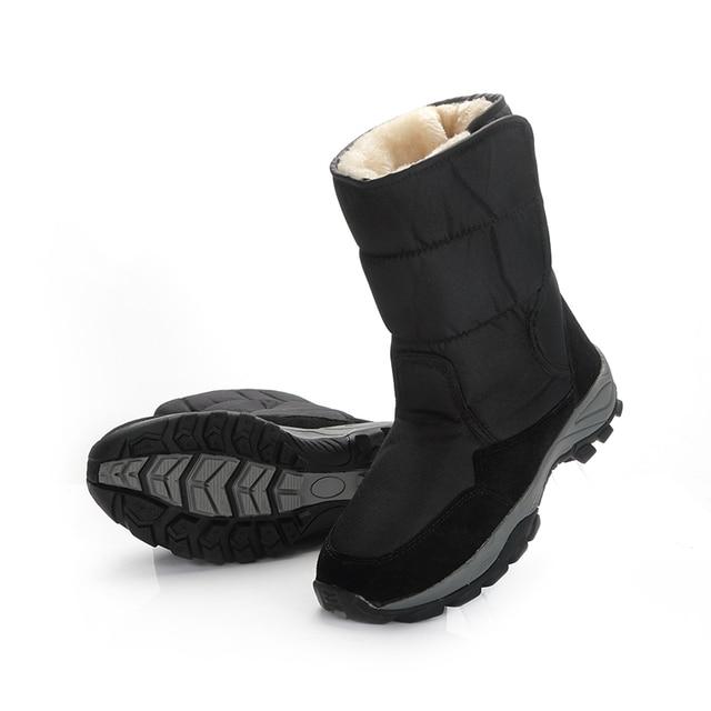 2018 男性ブーツ黒冬靴男性 snowboots ビッグサイズ 48 暖かい毛皮ゴムの強いアウトソールバックル新マンスタイル送料無料