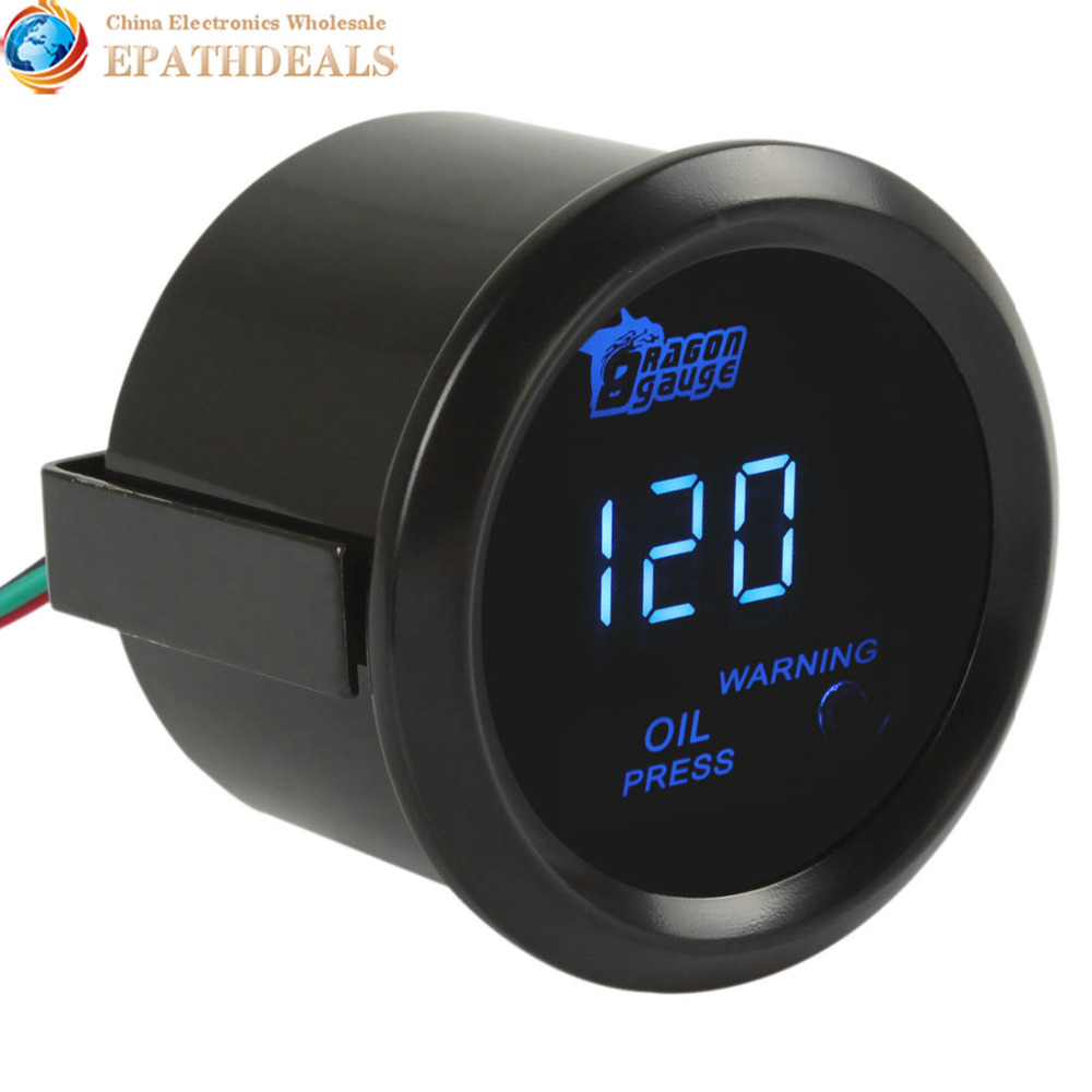 Digital Blue LED Electronic 1-120 PSI Oil Pressure Press Gauge Meter Sensor Engine Test Kit For Auto Car / Trucks