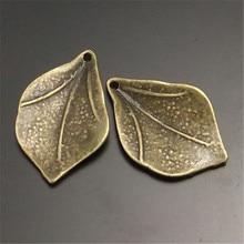GraceAngie 30PCS Vintage Style Bronze Jewelry Pendant Mini Leaf Charms Handmade 21*14MM 02233(China (Mainland))