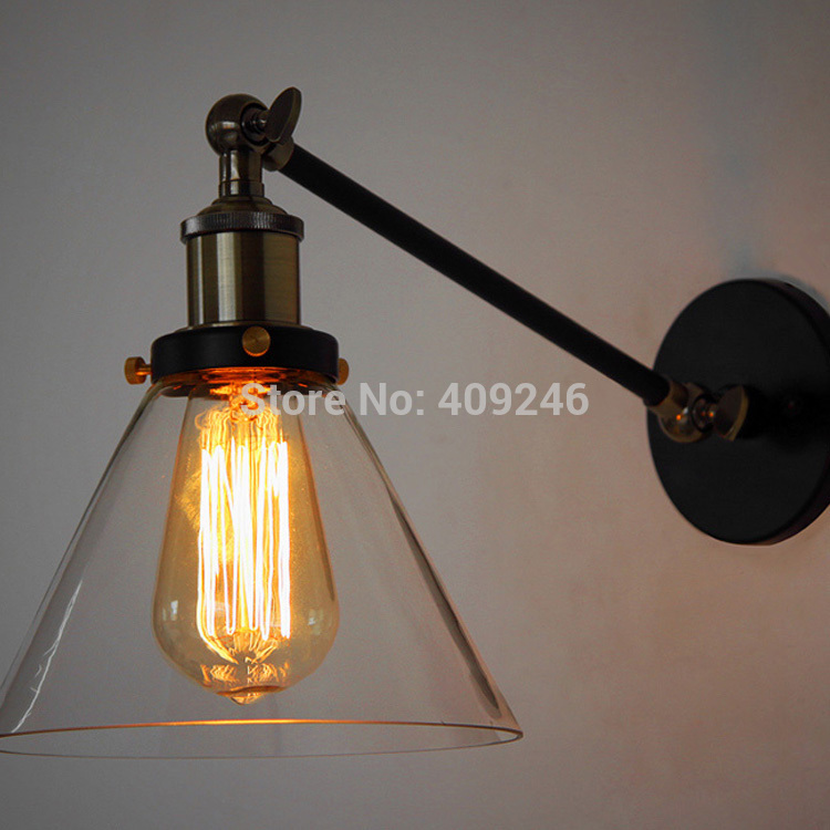 Edison Industrial Transparent Glass Wall Lamp Retro Wrought Iron Vintage E27 For Cafe Bar Store Bedroom Coffee Shop Club edison vintage style e27 copper screw rotary switch lamp holder cafe bar coffee shop store hall club