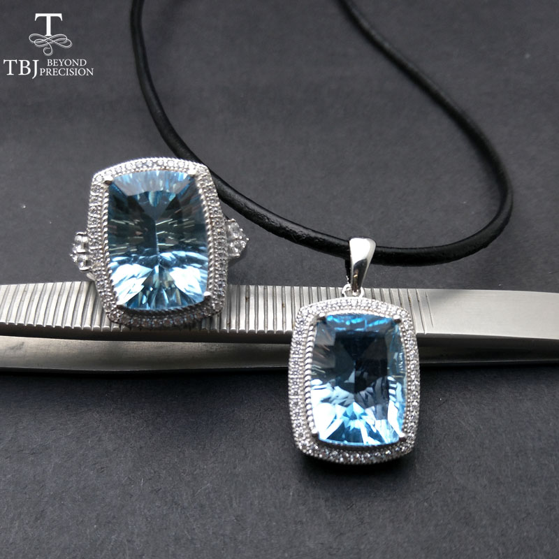 TBJ, Big cushion cut Blue topaz jewelry set pendant and ring unisex 925 sterling silver fine jewelry gemstone set with gift box