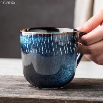 Creative Ceramic Blue Coffee Mugs For Tea Nordic Retro Travel Mug Simple Household Office Breakfast Milk Cup Girl Gift Drinkware 1