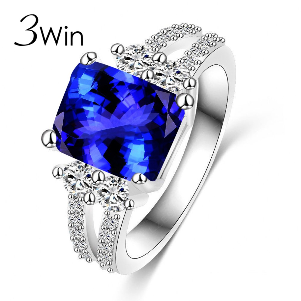 Winwinwin Top Quality Rings For Women Extravagant Blue Created Crystal Engagement  Wedding Fashion Rings Girls Party