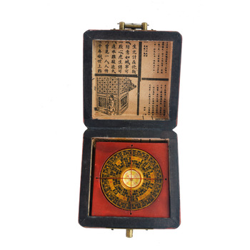 Feng Shui Luo Pan Vintage Chinese Compass W.Case J2131 1