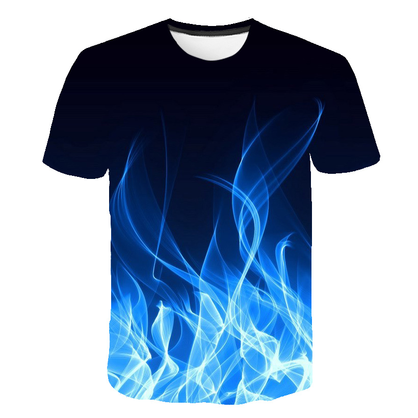 2019 New Green Flaming Tshirt Men Women T Shirt 3d T-shirt Black Tee Casual Top Anime Camiseta Streatwear Short Sleeve Tshirt