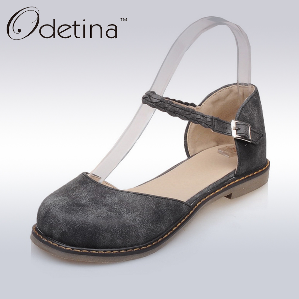 Odetina 2017 New Fashion Women Casual D'Orasy Flats Mary Jane Shoes Flat Comfortable Buckle Ankle Strap Casual Flats Round Toe odetina 2017 new summer women ankle strap ballet flats buckle hollow out flat shoes pointed toe ladies comfortable casual shoes