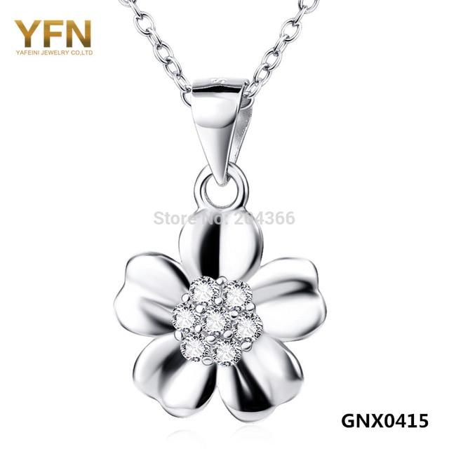 YFN 2016 Genuino Plata de Ley 925 Colgante Collar de Flores Para Las Mujeres Nueva S925 Joyería CZ Encantos Collar de San Valentín regalo