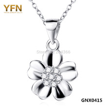 YFN 2016 New Genuine 925 Sterling Silver Flower Pendant Necklace For Women New S925 Jewelry CZ Charms Necklace Valentine's Gift