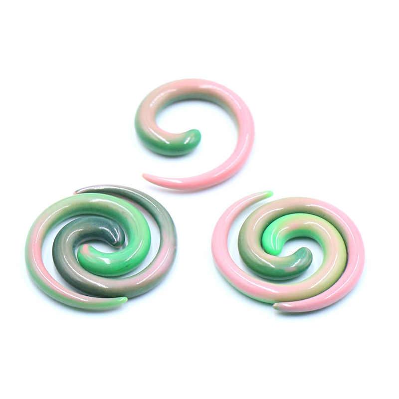 2Pcs Punk Acrylic Spiral Taper Daging Terowongan Tandu Telinga Menggunakan Mesin Expander Peregangan Plug Snail Screw Piercing Perhiasan Tubuh