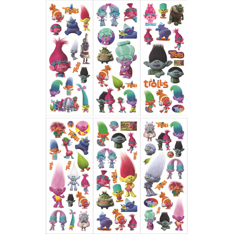 6 sheets/set new cartoon stickers for kids home wall decor on laptop cute Trolls mini 3D sticker toy notebook diary scrapbooking