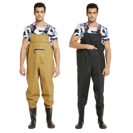 Fishing clothes half body chest deep clothing sweat chest wader belt jumpsuit with shoes male electricity-proof fishing trousers