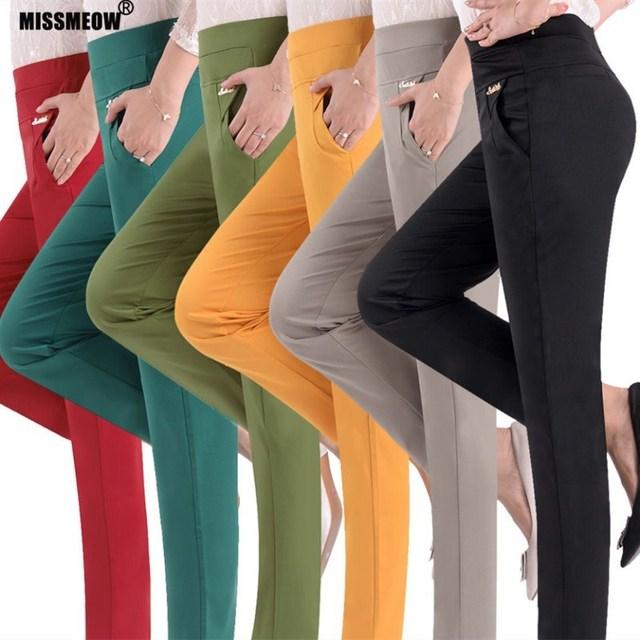 MISSMEOW women pants women summer high waist pants Big size casual Pencil women's pants elastic candy women's trousers